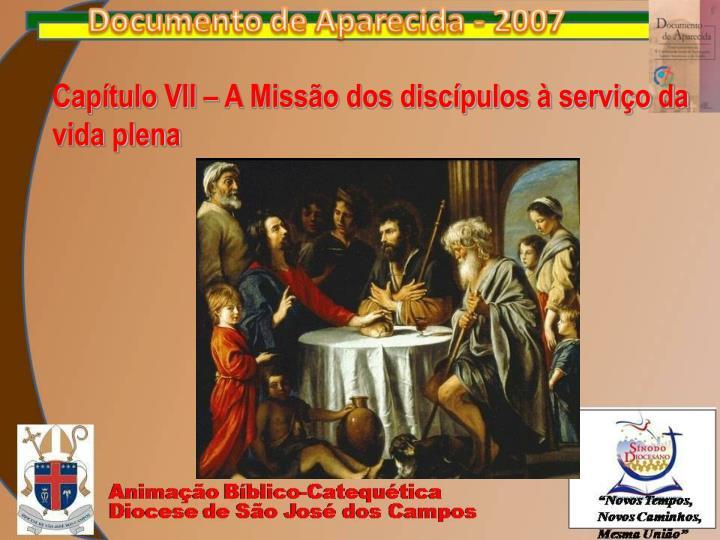 Capítulo VII – A Missão dos discípulos à serviço da vida plena