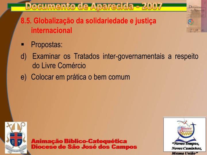 8.5. Globalização da solidariedade e justiça internacional