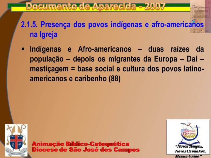 2.1.5. Presença dos povos indígenas e afro-americanos na Igreja