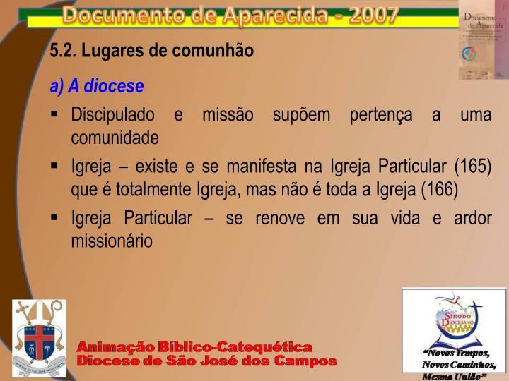 5.2. Lugares de comunhão