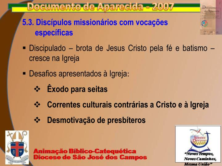 5.3. Discípulos missionários com vocações