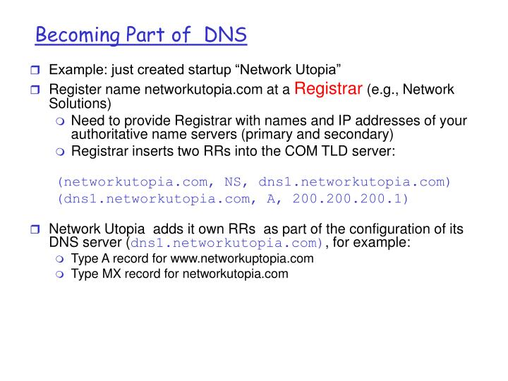 Becoming Part of  DNS