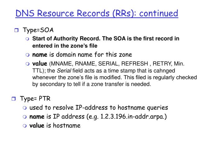 DNS Resource Records (RRs): continued