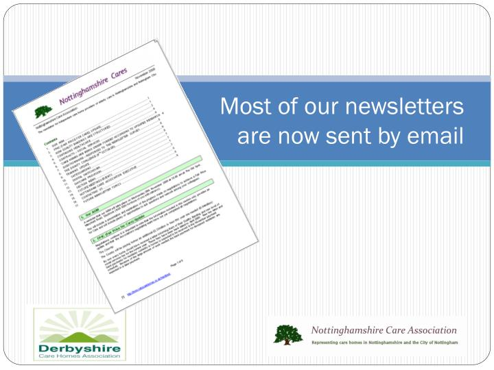 Most of our newsletters are now sent by email