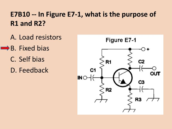E7B10 -- In Figure E7-1, what is the purpose of R1 and R2?
