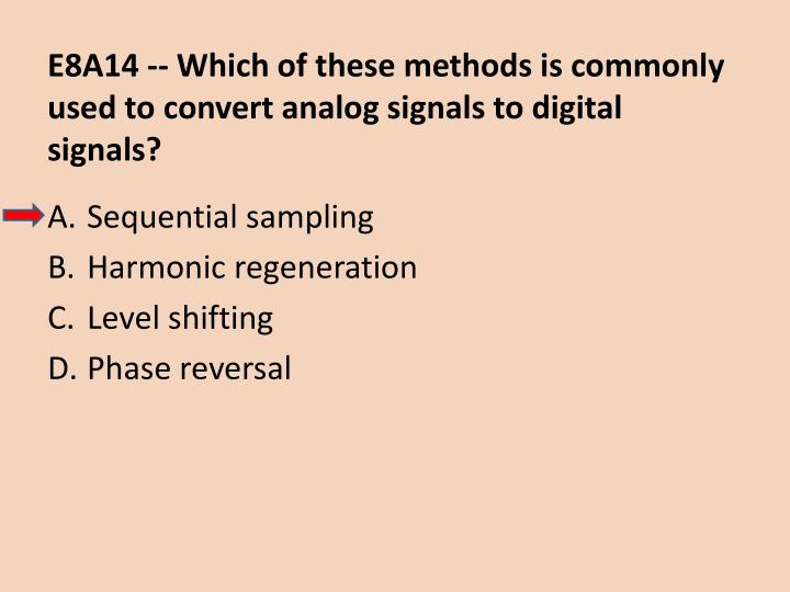 E8A14 -- Which of these methods is commonly used to convert analog signals to digital signals?