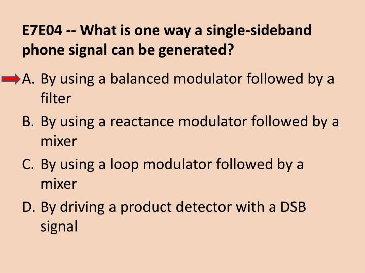 E7E04 -- What is one way a single-sideband phone signal can be generated?