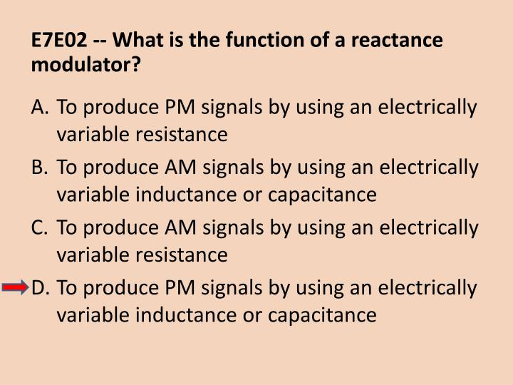 E7E02 -- What is the function of a reactance modulator?