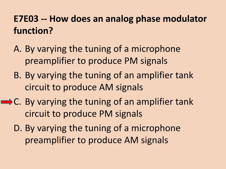 E7E03 -- How does an analog phase modulator function?