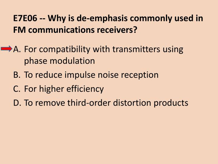 E7E06 -- Why is de-emphasis commonly used in FM communications receivers?