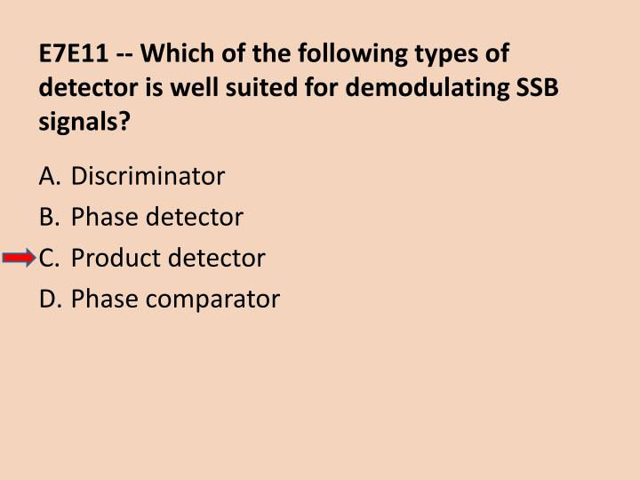 E7E11 -- Which of the following types of detector is well suited for demodulating SSB signals?