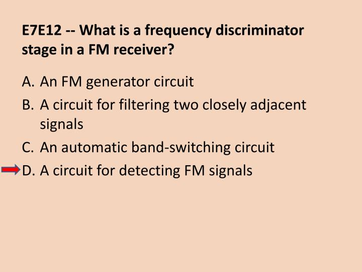 E7E12 -- What is a frequency discriminator stage in a FM receiver?