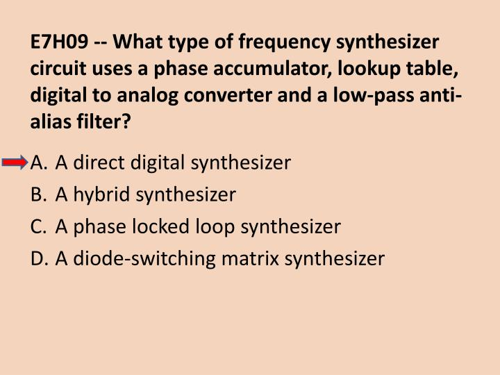 E7H09 -- What type of frequency synthesizer circuit uses a phase accumulator, lookup table, digital to analog converter and a low-pass anti-alias filter?