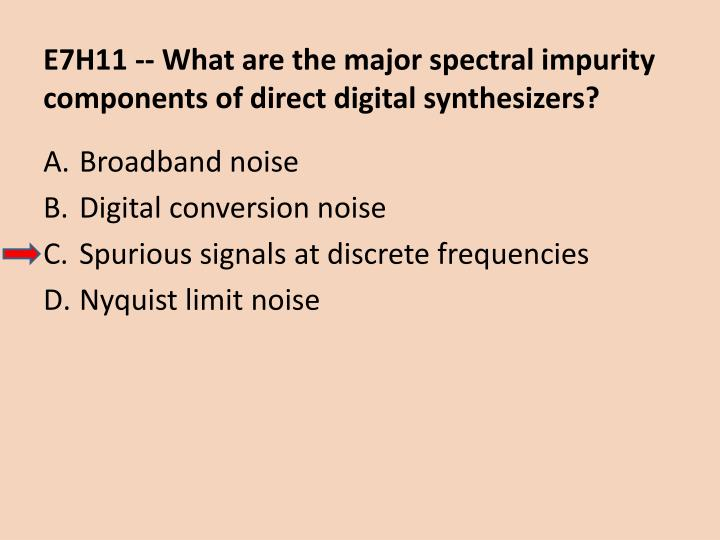 E7H11 -- What are the major spectral impurity components of direct digital synthesizers?