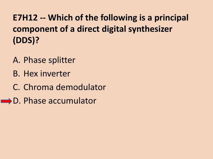 E7H12 -- Which of the following is a principal component of a direct digital synthesizer (DDS)?