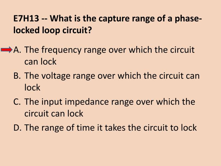 E7H13 -- What is the capture range of a phase-locked loop circuit?