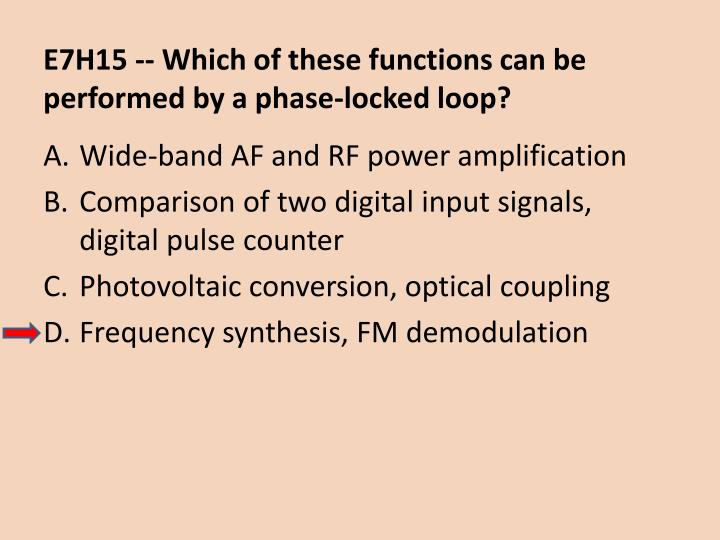 E7H15 -- Which of these functions can be performed by a phase-locked loop?