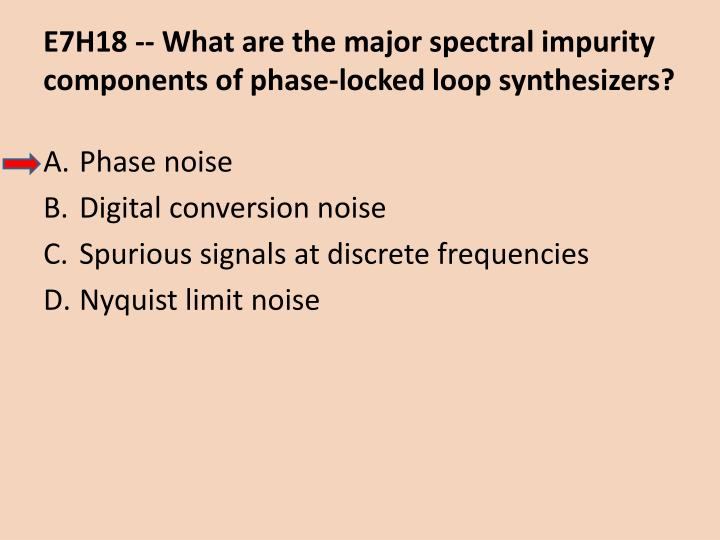 E7H18 -- What are the major spectral impurity components of phase-locked loop synthesizers?
