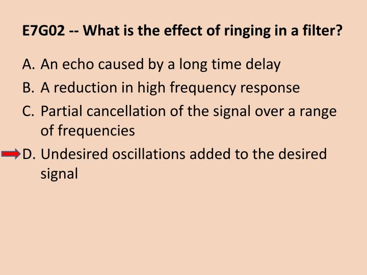 E7G02 -- What is the effect of ringing in a filter?