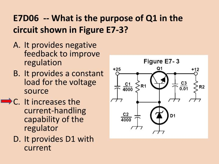 E7D06  -- What is the purpose of Q1 in the circuit shown in Figure E7-3?