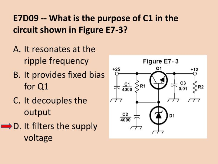 E7D09 -- What is the purpose of C1 in the circuit shown in Figure E7-3?