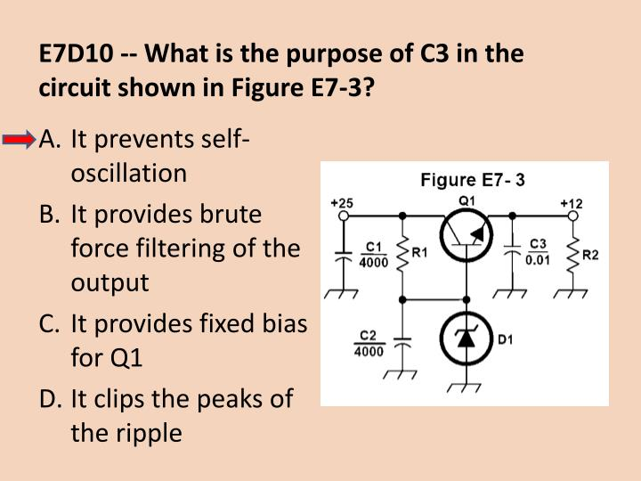 E7D10 -- What is the purpose of C3 in the circuit shown in Figure E7-3?