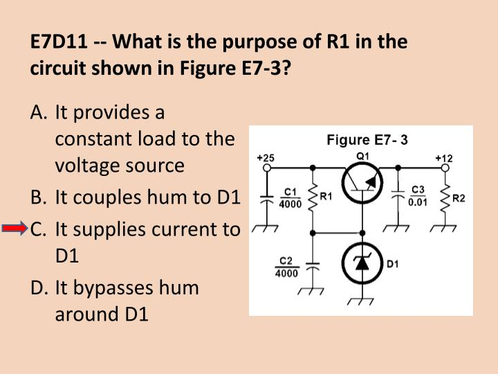 E7D11 -- What is the purpose of R1 in the circuit shown in Figure E7-3?