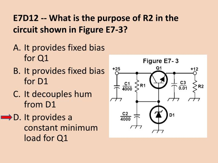 E7D12 -- What is the purpose of R2 in the circuit shown in Figure E7-3?