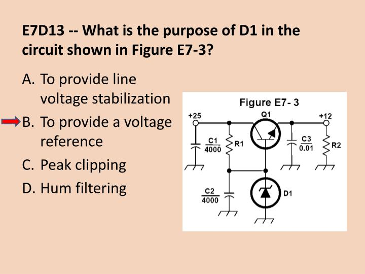 E7D13 -- What is the purpose of D1 in the circuit shown in Figure E7-3?