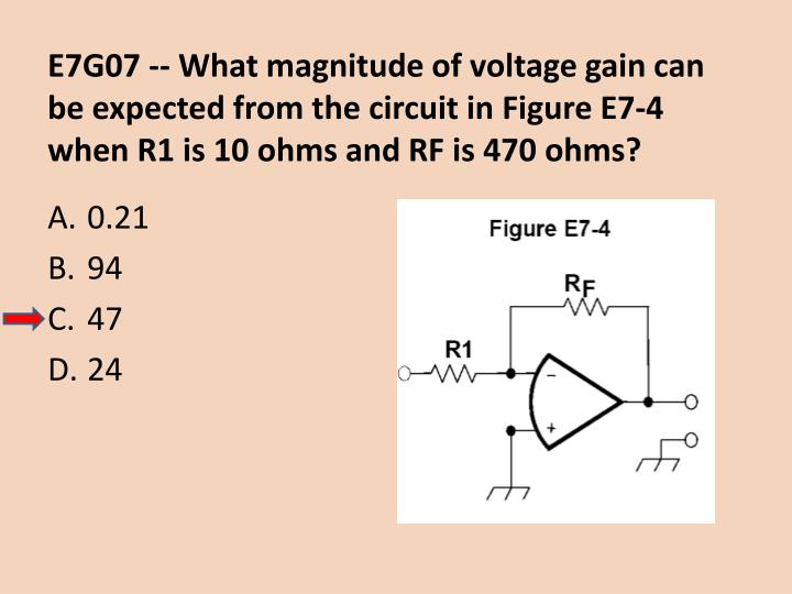E7G07 -- What magnitude of voltage gain can be expected from the circuit in Figure E7-4 when R1 is 10 ohms and RF is 470 ohms?