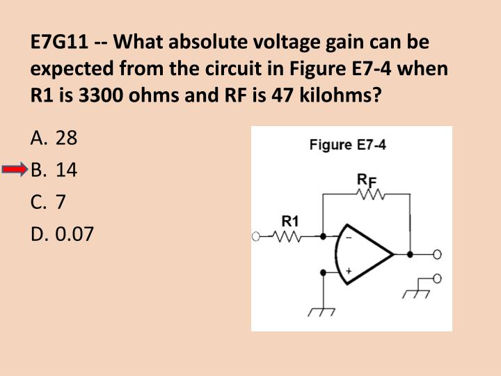 E7G11 -- What absolute voltage gain can be expected from the circuit in Figure E7-4 when R1 is 3300 ohms and RF is 47 kilohms?