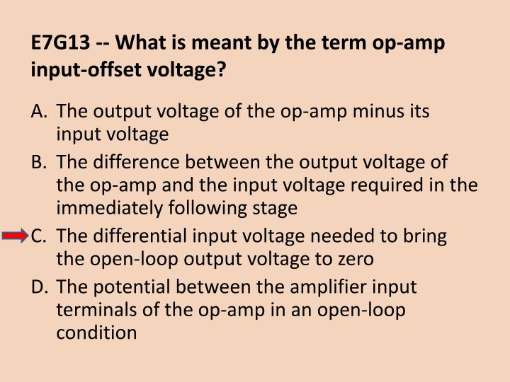 E7G13 -- What is meant by the term op-amp input-offset voltage?
