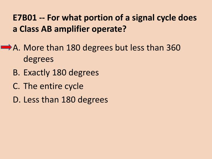 E7B01 -- For what portion of a signal cycle does a Class AB amplifier operate?