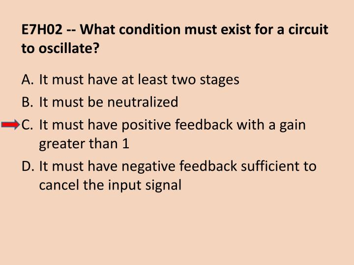 E7H02 -- What condition must exist for a circuit to oscillate?