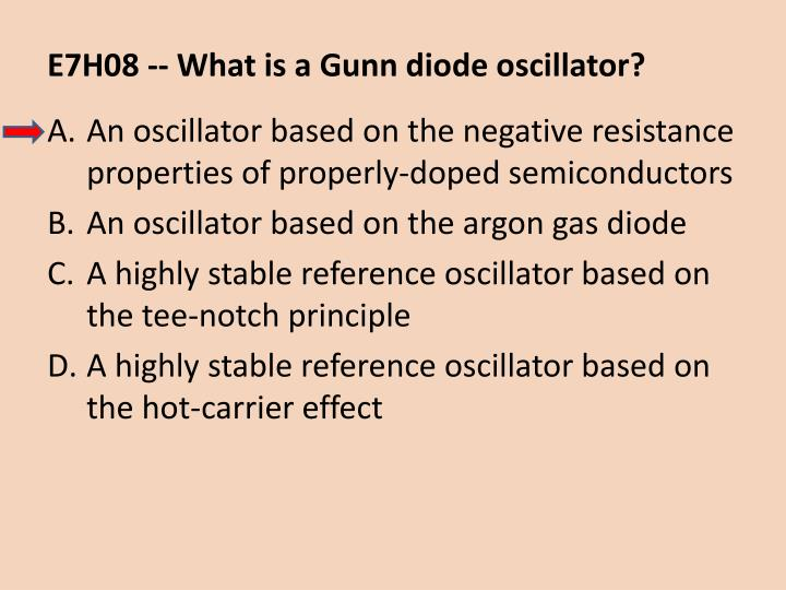 E7H08 -- What is a Gunn diode oscillator?