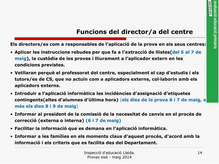 Funcions del director/a del centre