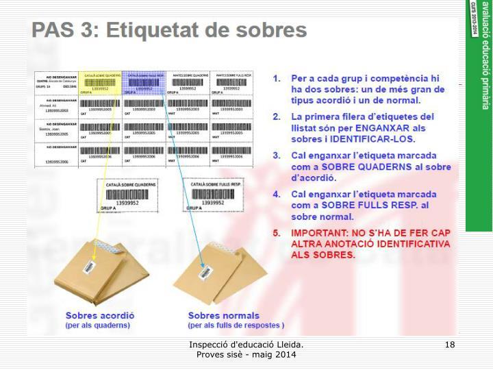 Inspecció d'educació Lleida.       Proves sisè - maig 2014