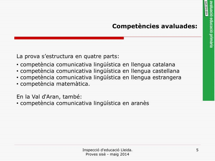 Competències avaluades: