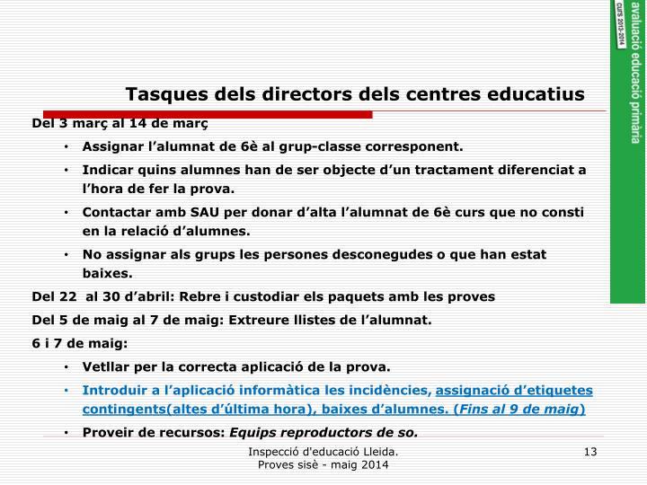 Tasques dels directors dels centres educatius