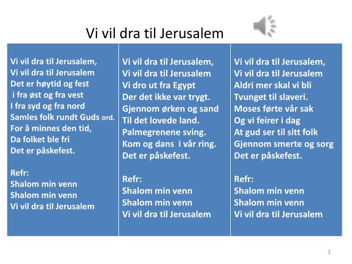 Vi vil dra til Jerusalem