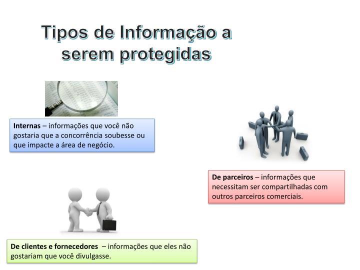 Tipos de Informação a serem protegidas