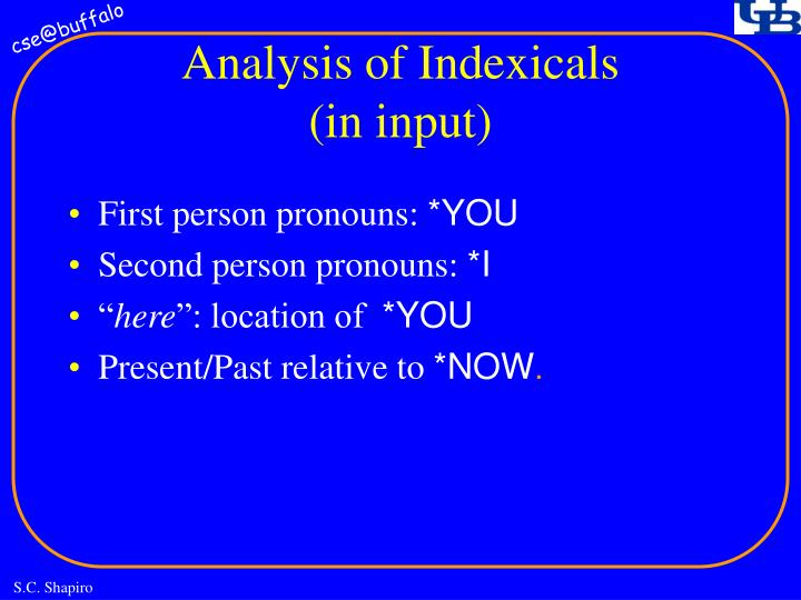 Analysis of Indexicals