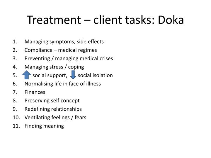 Treatment – client tasks: Doka