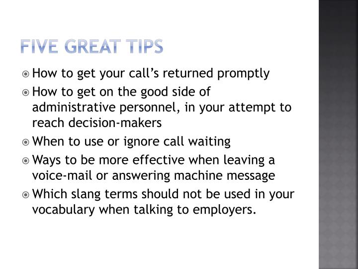Five great tips