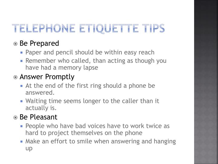 Telephone etiquette tips