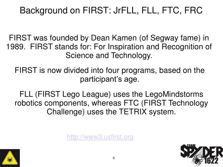 Background on FIRST: JrFLL, FLL, FTC, FRC