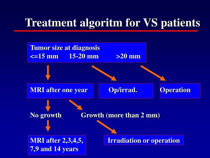 Treatment algoritm for VS patients