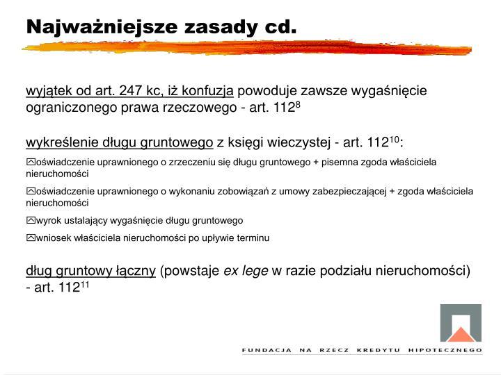 Najważniejsze zasady cd.