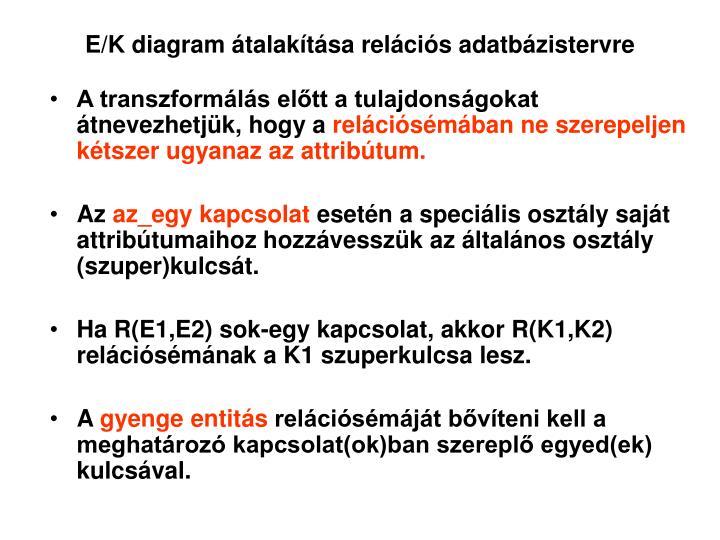 E/K diagram átalakítása relációs adatbázistervre
