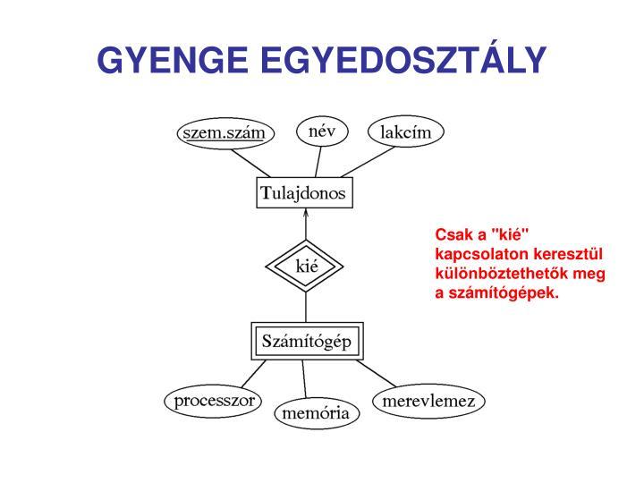 GYENGE EGYEDOSZTÁLY